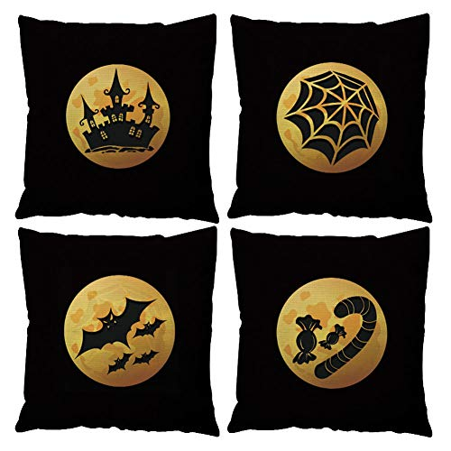 GATELEE Halloween Theme Throw Pillow Covers Pumpkin Witch Party Home Decor Pillow Cases 18''x18'' Cushion Cover Set of 4 (Halloween Badge)