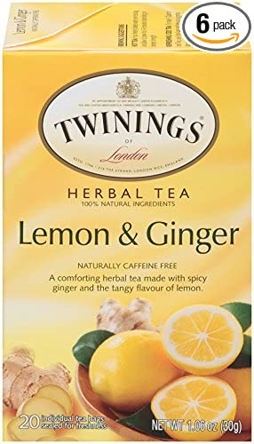 Twinings of London Lemon & Ginger Herbal Tea Bags, 20 Count (Pack of 6)