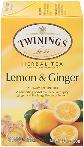 - Twinings of London Lemon & Ginger Herbal Tea Bags, 20 Count (Pack of 6)