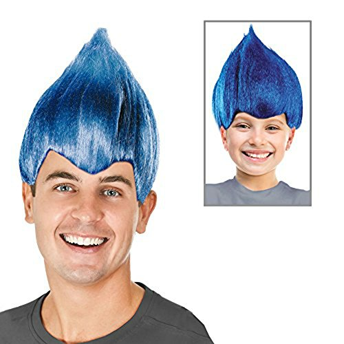 Troll Wig - #1 Quality Colorful Troll Costume Hair - 5 Colors Available - Cosplay Troll Wig (Blue)