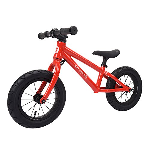 XJD Balance Bike For Kids Ages 3 to 6 Years Lightweight Aluminum Frame No-Pedal Push Bicycle Adjustable Saddle, 12 Air Tires (Red)