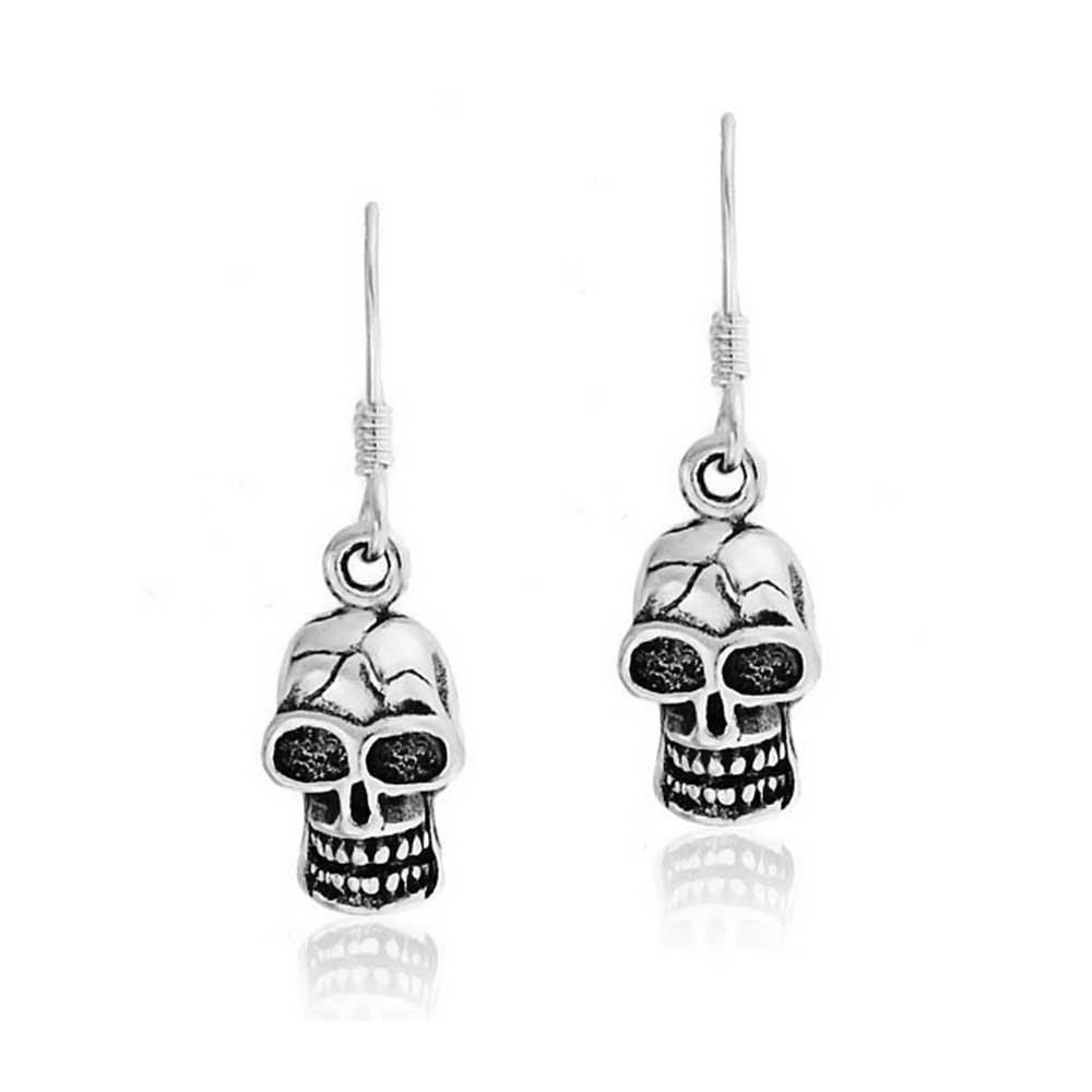 19da6cabe Amazon.com: Caribbean Pirate Skull Biker Rocker Dangle Earrings For Women  Oxidized 925 Sterling Silver: Dangle Earrings: Jewelry