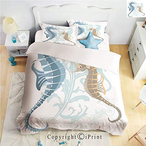 Homenon Luxury 4-Piece Bed Sheet,Hide Zipper Closure,Pair of Little and Big Fishes in Soft Tones Featured Design Tropical Creatures,Blue Cream,King Size