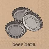 Boston International Ideal Home Range 20-Count Brown Paper Cocktail Napkins, Beer Here