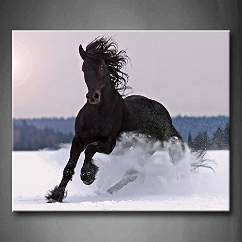 First Wall Art - Black Friesian Stallion Gallop On Snow In Winter Wall Art Painting Pictures Print On Canvas Animal The Picture For Home Modern Decoration (Stretched By Wooden Frame,Ready - Art Friesian Horse