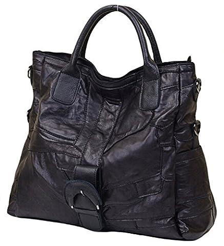 Iblue Womens Lambskin Leather Tote Bag Travel Shoulder Purse Black #ic5 (L, black) - Lambskin Leather Tote Bag