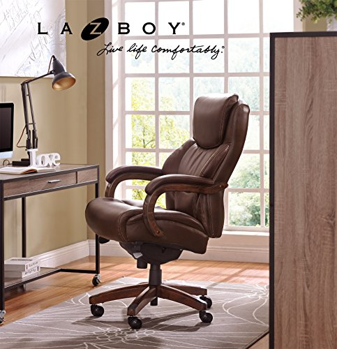 (La-Z-Boy Delano Big & Tall Executive Bonded Leather Office Chair - Chestnut)