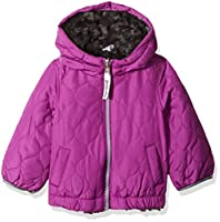 London Fog Baby Girls Reversible Quilted Midweight Jacket, Orchid/Grey, 12MO