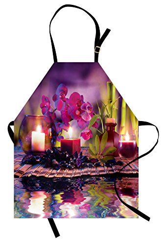 Lunarable Spa Apron, Violet Composition Candles Oil Orchids Bamboo on Water Natural Leaves, Unisex Kitchen Bib Apron with Adjustable Neck for Cooking Baking Gardening, Violet Fuchsia Lime Green by Lunarable (Image #3)