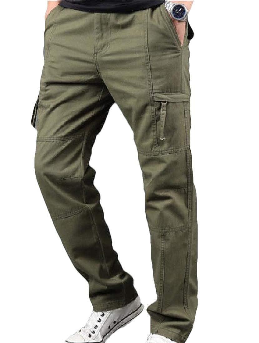 SportsX Men Straight Multi Pockets Solid Color Simple Workwear Ranger Pant