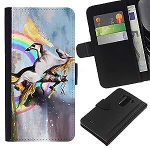 BearCase / Cuero de la tarjeta la carpeta del tirón Smartphone Slots Protección Holder /// LG G3 /// Unicornio del caballo del arco iris mágico Oro