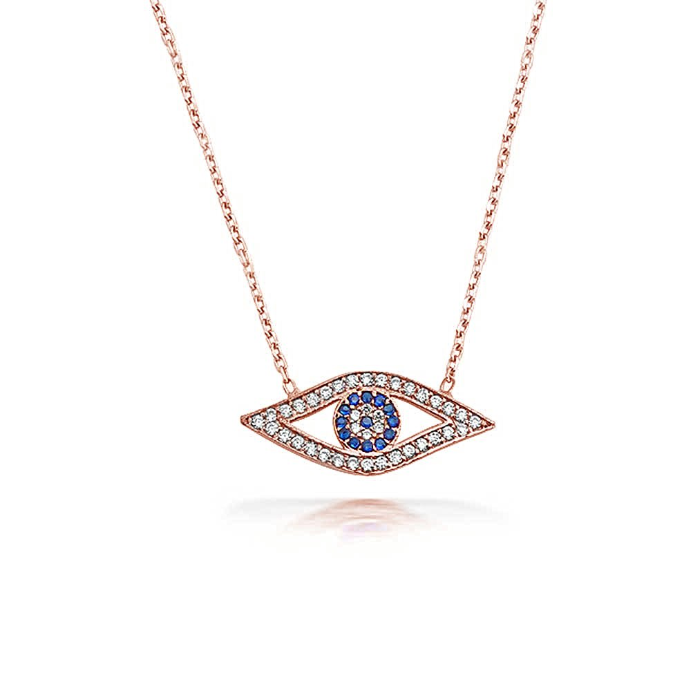 Turkish Protection Blue Pave CZ Evil Eye Station Pendant Necklace For Women For Teen Rose Gold 925 Sterling Silver