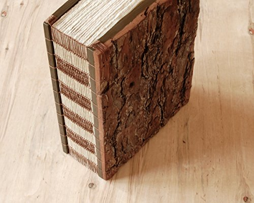 Handmade Pine Bark Wood Wedding or Vacation Home Guest Book by Three Trees Bindery