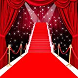 GladsBuy Glorious Red Carpet with Curtain 5' x 5' Computer Printed Photography Backdrop Stage Carpet Theme Background ZJZ-022
