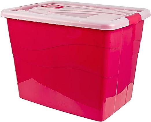 Caja Almacenamiento Caja de almacenaje con tapa y ruedas, 80 L, 46 ...