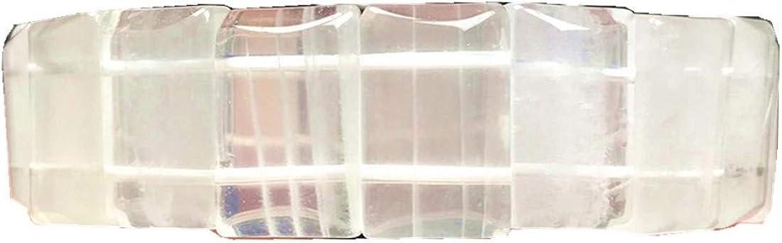 Pulsera de cristal de cuarzo fantasma blanco, joyería de cuarzo natural para mujeres y hombres, Brasil, cuentas rectangulares de piedras preciosas elásticas AAAAA 18 mm
