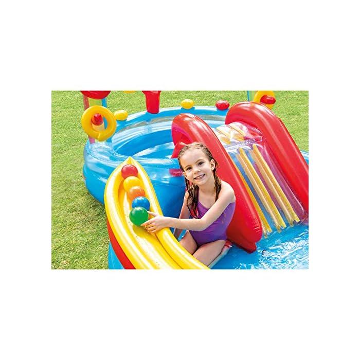 51EoUKnGiRL Centro de juegos hinchable con forma circular y un arco iris, medidas de 297 x 193 x 135 cm 2 piscinas: una grande con capacidad para 201 litros de agua y otra más pequeña de 227 litros de agua (tiene más altura que la grande) Incluye un tobogán con base acolchada para amortiguar la bajada
