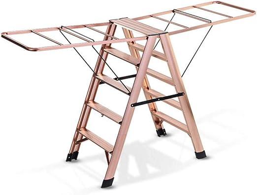 ZPWSNH Escalera Plegable Escalera multifunción Escalera de Secado Balda de Aterrizaje Escalera de Doble Uso Escalera aerodinámica Familia de aleación de Aluminio Taburete (Color : T6): Amazon.es: Hogar