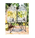 Home Essentials 1842 Del Sol Hammered Jug Beverage Dispenser with Rack, Set of 2, 10lb Clear