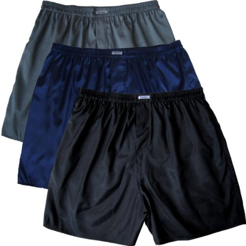 Black Blue Gray Boxer Shorts Underwear Men Sleepwear Satin 3-pack (M)