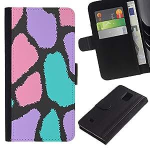 KingStore / Leather Etui en cuir / Samsung Galaxy Note 4 IV / Spots Modelo abstracto del animal de piel;