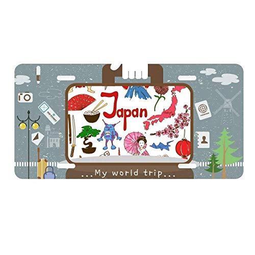 DIYthinker Japan Landscap Animals National Flag License Plate Car Decoration Tin Sign Travel (Japan National Stainless)