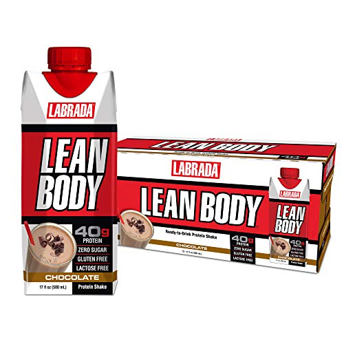 LABRADA - Lean Body Ready To Drink Protein Shake, Convenient On-The-Go Meal Replacement Shake for Men & Women, 40 grams of Protein – Zero Sugar & Gluten Free, Chocolate (Pack of 12)