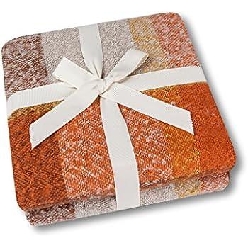 "Soft Lap Plaid Throw Blanket-Soo Angeles 100% Acrylic Woven Yarn Dyed Fringed Plaid Throw Blanket Bed Blankets Bedspread Soft Cozy Blanket ORANGE PLAID 50"" W x 67"" L"