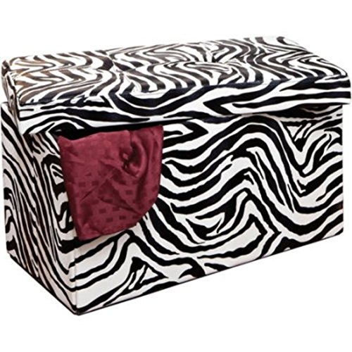 Zebra Rectangle Water Resistant Faux leather Folding Storage Furniture (Four Drawers Double Sink Vanity)