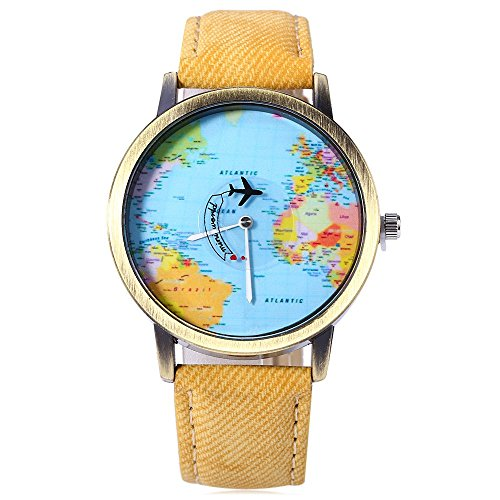 Reloj Shop PielColor Del MundoCorrea Pulsera Cuarzo Dial Mapa Leopard De Con Amarillo wOPZkXiuT
