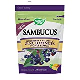 Sambucus Zinc lozenges with Elderberry and Vitamin c, Honey Lemon Flavor, Gluten Free, Kosher Certified, 24 Count