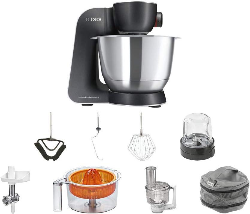 Bosch MUM59M55 1000W 3.9L Negro, Acero inoxidable - Robot de cocina (3,9 L, Negro, Acero inoxidable, 0,5 L, Acero inoxidable, De plástico, LED): Amazon.es: Hogar