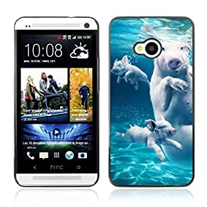 Colorful Printed Hard Protective Back Case Cover Shell Skin for HTC One (M7) ( Swimming Pigs )