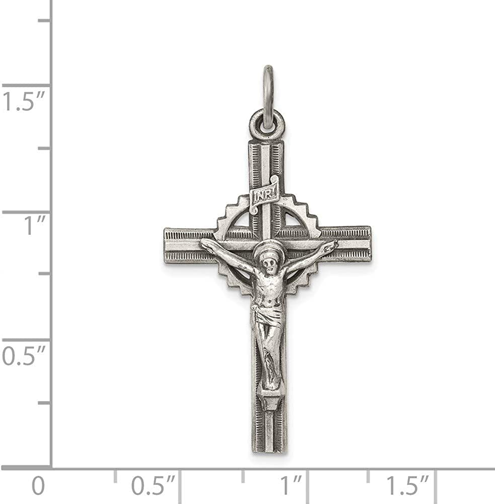 Roy Rose Jewelry Sterling Silver Antiqued Textured and Polished INRI Crucifix Pendant