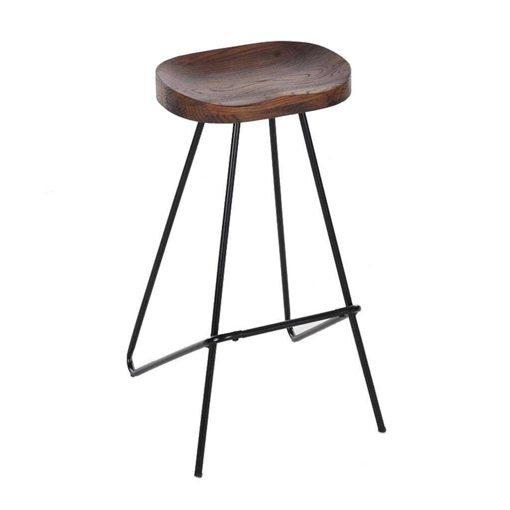 Iron Art Solid Wood bar Stool,Home Dining Chair Modern Minimalist high stools Industrial Style Furniture,for Kitchen, Restaurants, Cafes, Bars(Size  48  45  78CM)
