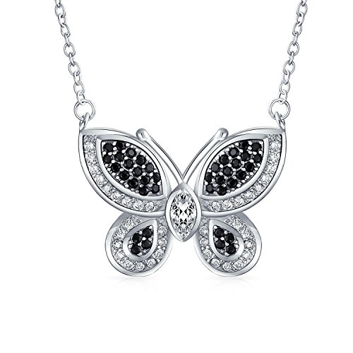 Bling Jewelry Garden Insect Black White Pave CZ Butterfly Pendant Necklace for Women for Teen Cubic Zirconia Silver Plated Brass - Pave Butterfly Charm