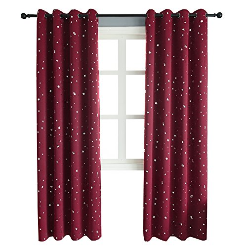 Mangata Casa Blackout Curtains with Night Sky Twinkle Star for Kids Room,Printed Star Thermal Insulated Grommet Bedroom Drapes 2 Panels (Wine red,52x96in)