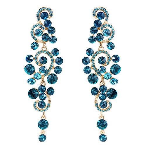 BriLove Women's Bohemian Boho Wedding Bridal Crystal Floral Chandelier Hollow Dangle Earrings Blue Topaz Color Gold-Tone (Rhinestone Earrings Large)