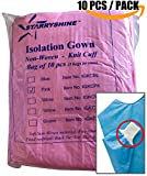 Dental Medical Latex Free Disposable Isolation Gowns Knit Cuff Non Woven | Fluid Resistant (10 Gowns / Pack, Pink)