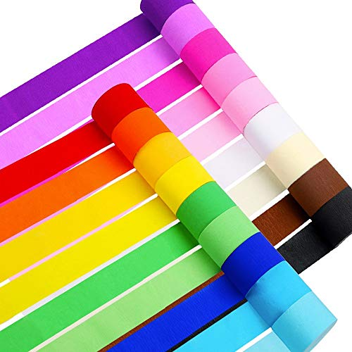 RUBFAC 18 Rolls Crepe Paper Rainbow Streamers, 18 Colors, Each roll 1.8
