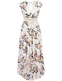 Bewish Womens Casual Summer Floral Prints Deep V-Neck Backless Swing Chiffon Dress