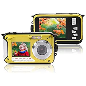 XCSOURCE FHD 1080P Double Screens Waterproof Digital Camera with 2.7-Inch + 1.8-Inch Dual LCD Easy Self Shot Camera