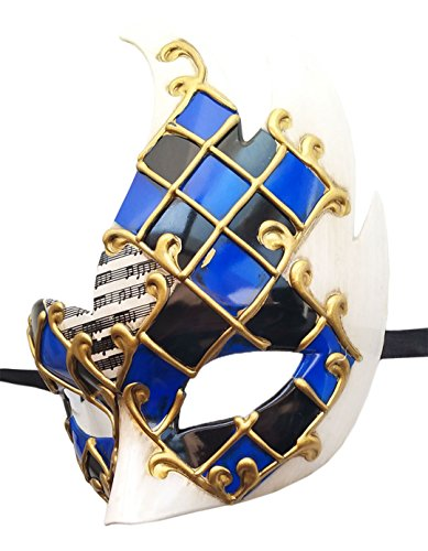 Ahugehome Men's Masquerade Mask Vintage Musical Checkered Venetian Party Mask Mardi Gras Mask