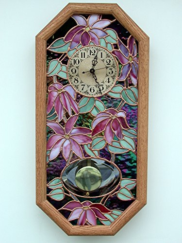 Clematis Stained Glass and Oak Pendulum Clock