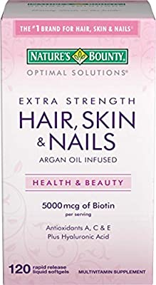 Nature's Bounty Optimal Solutions Hair, Skin & Nails Extra Strength 5000 mcg, 120 Softgels