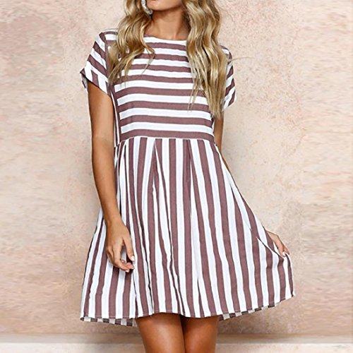 14895cddc1de ... PAOLIAN Kleider Damen Gestreift Sommer Strand Minikleid A-Linie Swing  Sommerkleid Beiläufig Tunika Kurzarm T ...