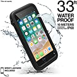 life proof water seal - Catalyst iPhone 8 case (iPhone 7 great fit) + Lanyard - Waterproof, Shock Resistant, Premium Apple iPhone protective case [Soft, Slim, Non slip, Clear front + back] Total protection, Black
