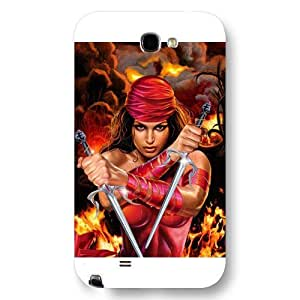 UniqueBox Customized Marvel Series Case for Samsung Galaxy Note 2, Marvel Comic Hero Elektra Samsung Galaxy Note 2 Case, Only Fit for Samsung Galaxy Note 2 (White Frosted Case)
