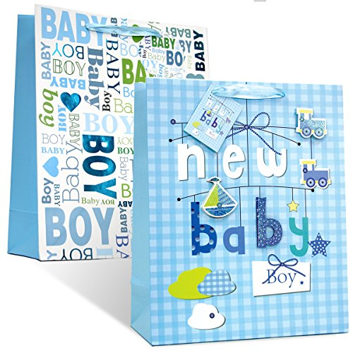 2 pc BabyShower& Birthday Premium Large Gift bags for Baby Boy with 2 design # 1 ( Boy 1)