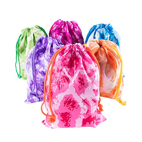 Tie-Dye Camouflage Drawstring Bags Party Favors, Arts & Crafts Activity 12 (Party Favor Bags For Kids)